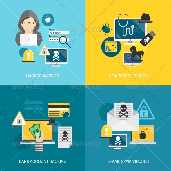 GraphicRiver Hacker Icons Flat Composition 8772956