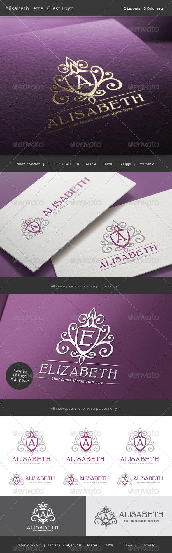 GraphicRiver Alisabeth Letter Crest Logo 8772977
