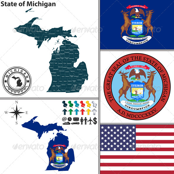 GraphicRiver Map of State Michigan USA 8773742