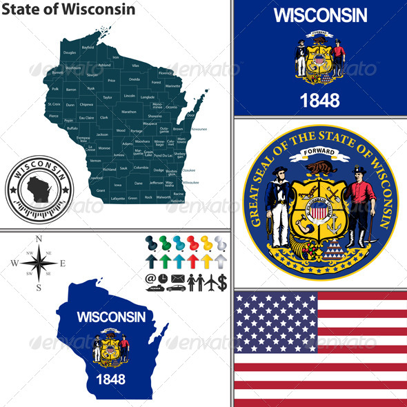 GraphicRiver Map of State Wisconsin USA 8773757
