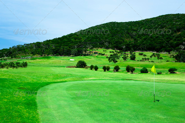 Golf Course by the Sea - Stock Photo - Images