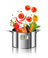 Vegetables falling into a pot. Healthy and diet food concept - PhotoDune Item for Sale
