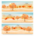 Three autumn abstract banners with colorful leaves and trees. - PhotoDune Item for Sale