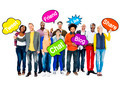 Group Of Multi-Ethnic People Holding Speech Bubbles With Words R