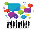 Business People Discussing with Speech Bubbles