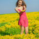 Beautiful cheerful woman spring field - PhotoDune Item for Sale