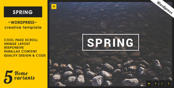 ThemeForest Spring Creative One Page Wordpress Theme 8751334