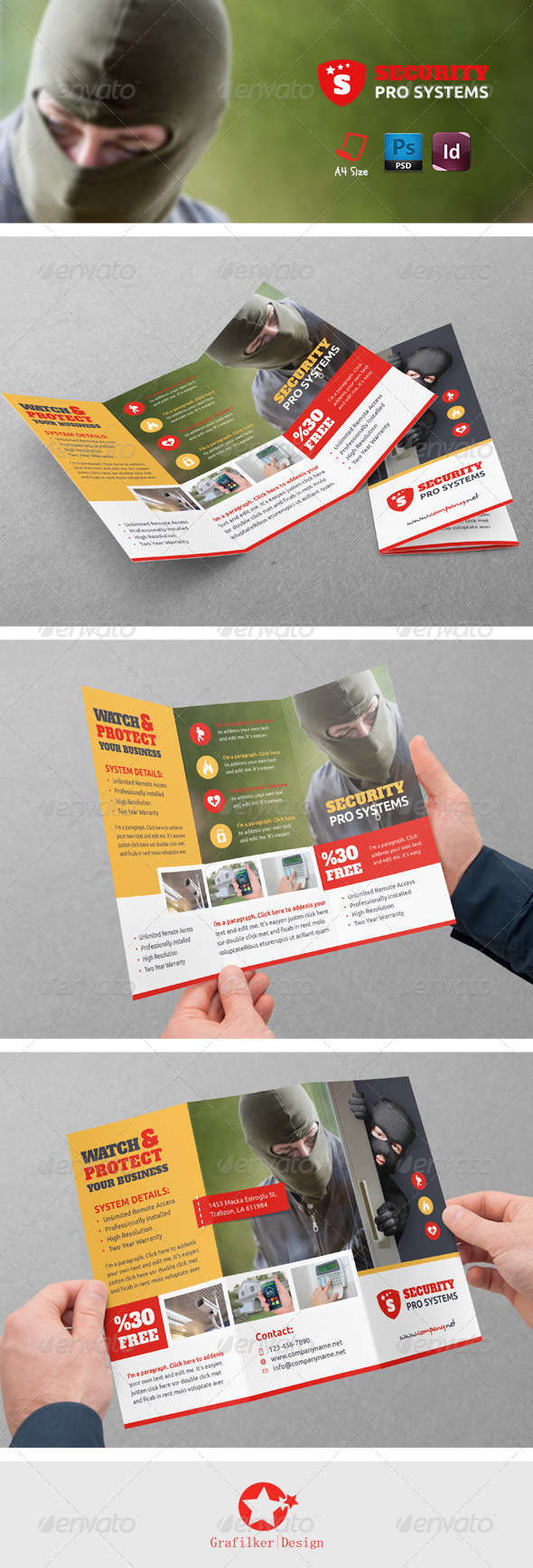 GraphicRiver Security Systems Tri-Fold Templates 8778112
