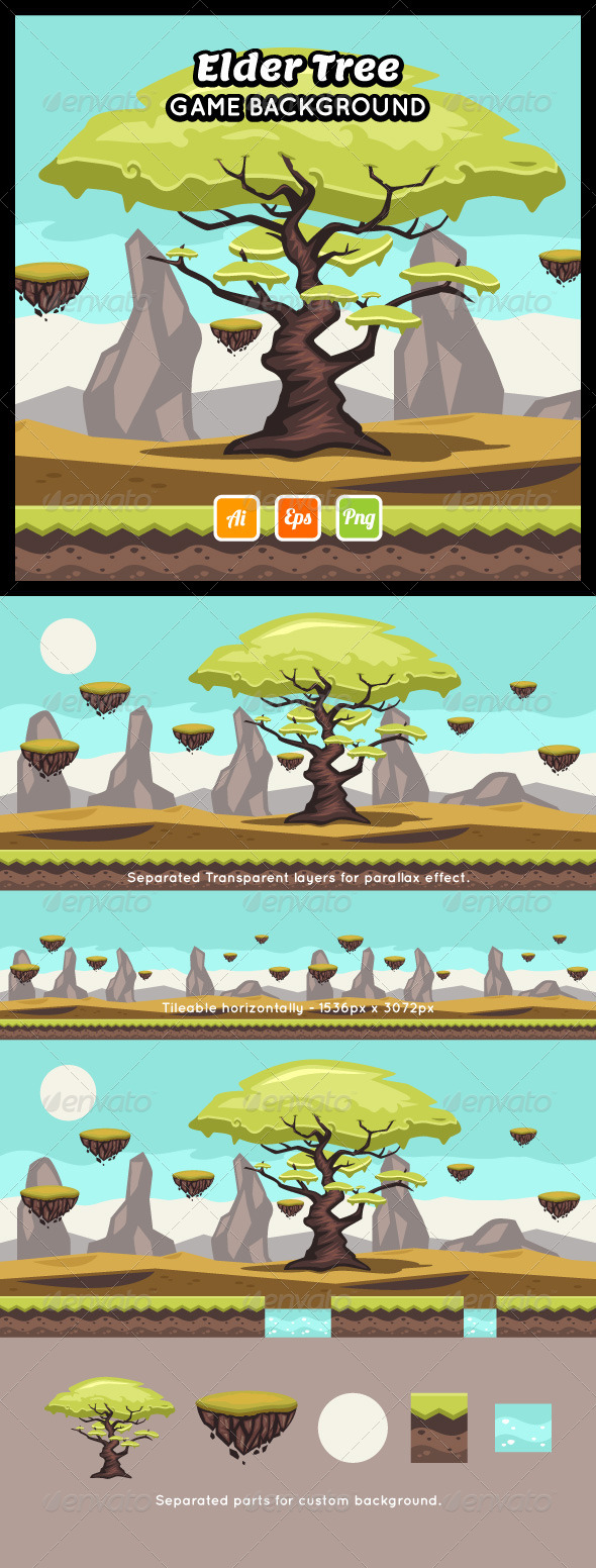 GraphicRiver Elder Tree Game Background 8778152