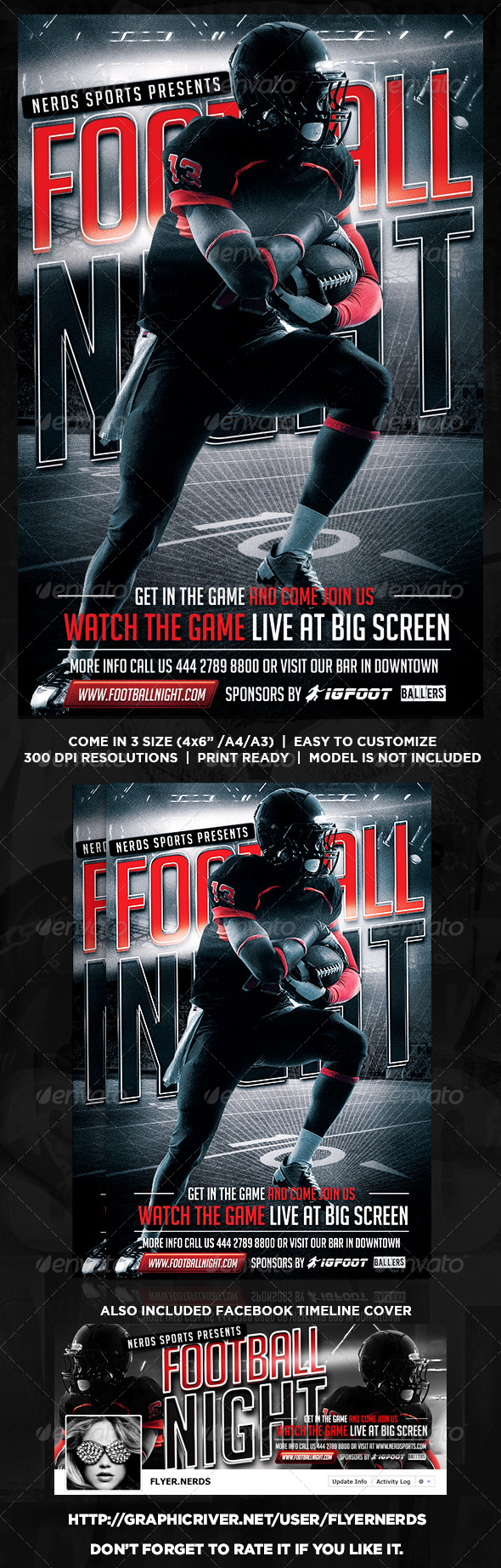 GraphicRiver Football Night Flyer 8778494