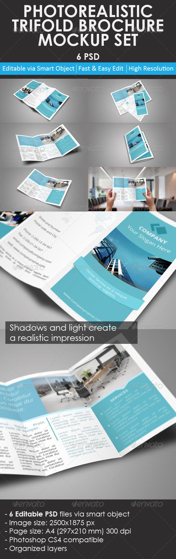 GraphicRiver Trifold Brochure Mockup Set 8771144