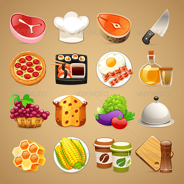 GraphicRiver Food and Kitchen Accessories Icons Set1.1 8771337