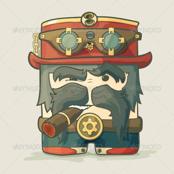 GraphicRiver Steampunk Pilot with Goggles and Hat 8778742