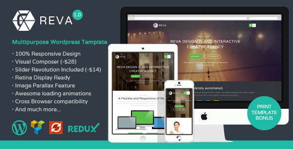 ThemeForest Reva Responsive MultiPurpose WordPress Theme 8778767