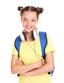 Schoolgirl with backpack and headphones - PhotoDune Item for Sale