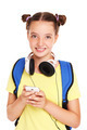 Schoolgirl and smartphone - PhotoDune Item for Sale