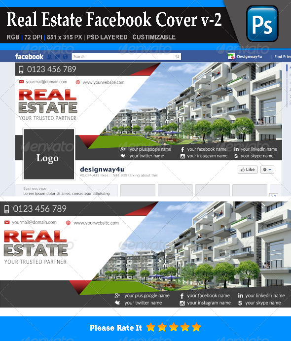 GraphicRiver Real Estate Facebook Cover v-2 8779982