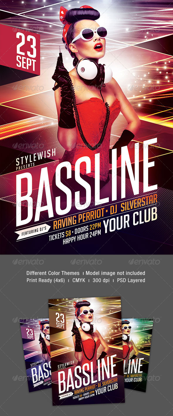 Bassline Flyer - Clubs & Parties Events