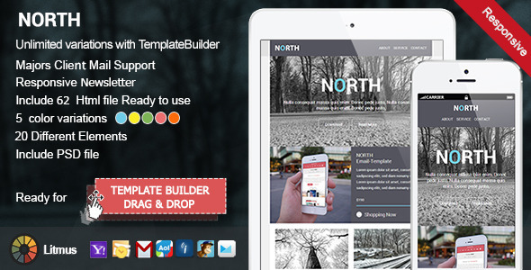ThemeForest North Responsive Email & Template Builder 8781531