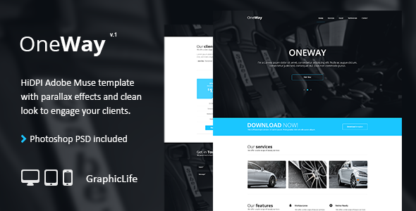 ThemeForest OneWay Adobe Muse Template 8781617