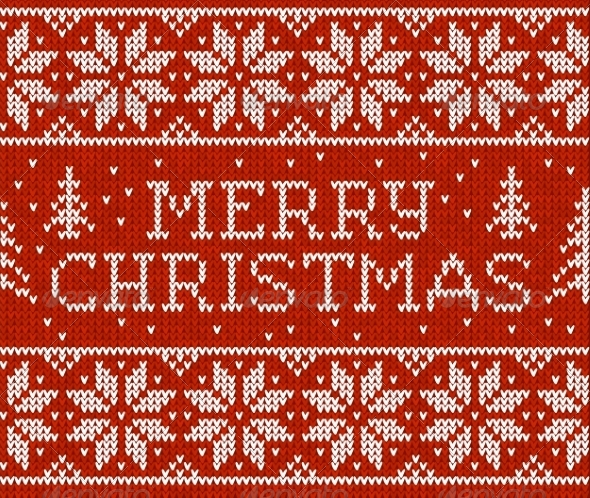 GraphicRiver Merry Christmas Knitted Pattern 8781719