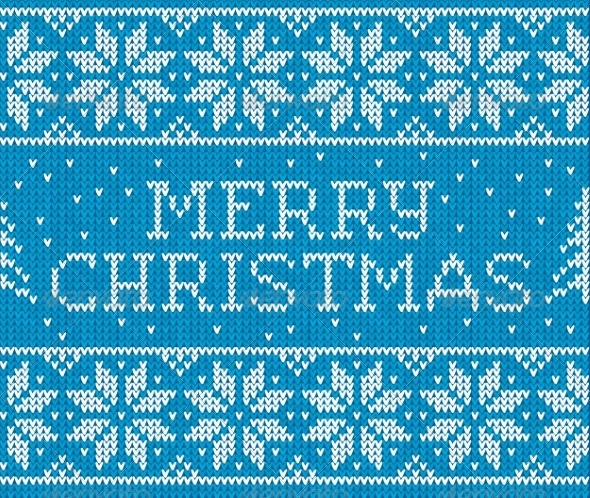 GraphicRiver Merry Christmas Knitted Pattern 8781729
