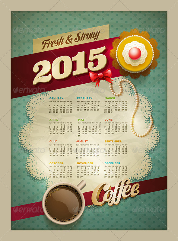 GraphicRiver Coffee & Cake Calendar Poster 2015 8781734