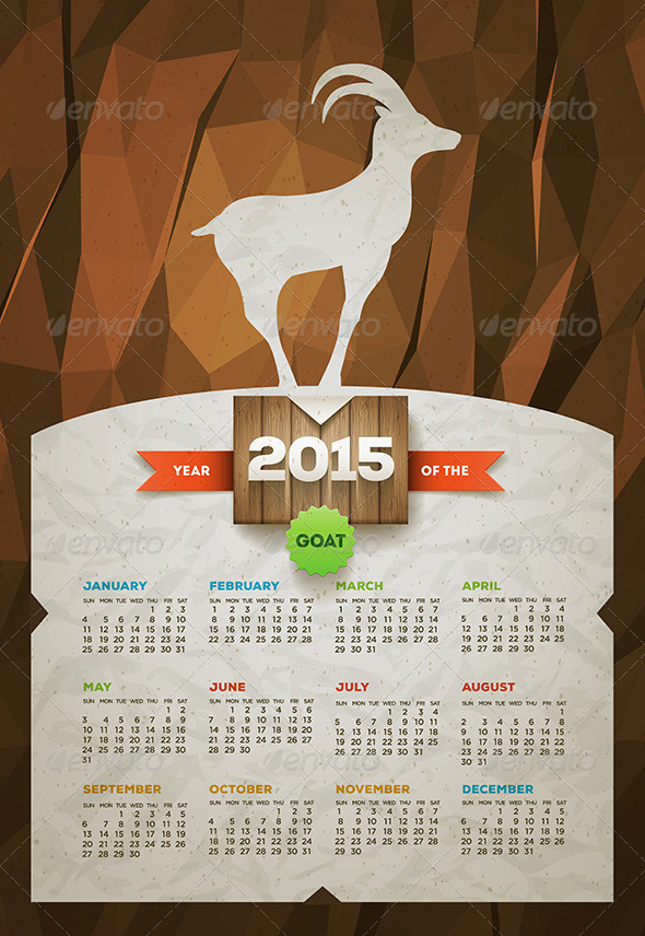 GraphicRiver Year of the Goat 2015 Calendar 8781757