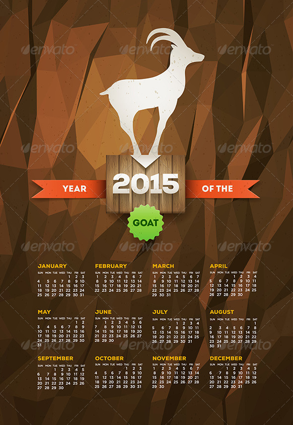 GraphicRiver Year Of The Goat 2015 Calendar 8781769