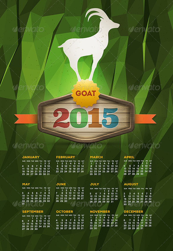 GraphicRiver Year Of The Goat 2015 Calendar 8781823