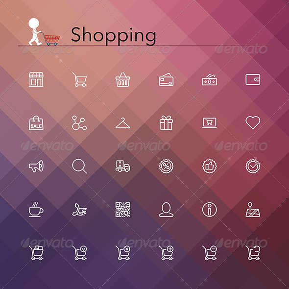 GraphicRiver Shopping Line Icons 8781953