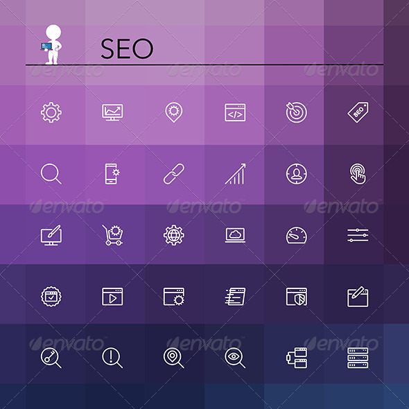 GraphicRiver SEO Line Icons 8781955