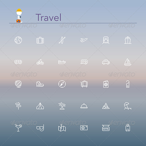 GraphicRiver Travel Line Icons 8781961