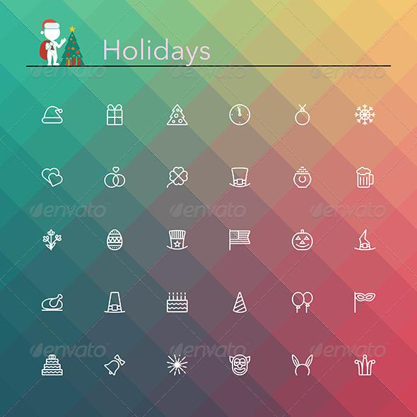GraphicRiver Holidays Line Icons 8781971