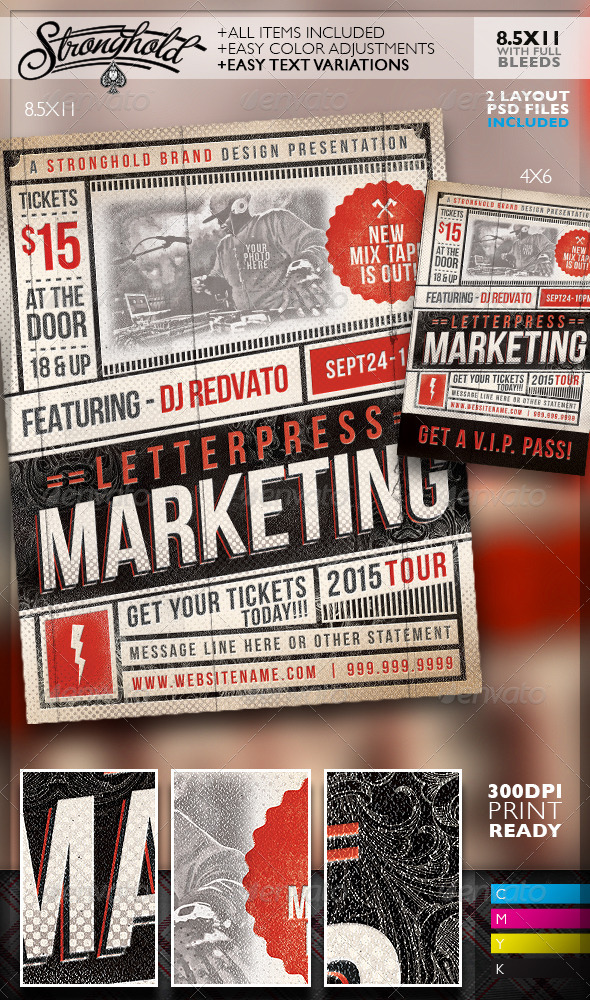 GraphicRiver Vintage Letterpress Event Flyer Template 8777002