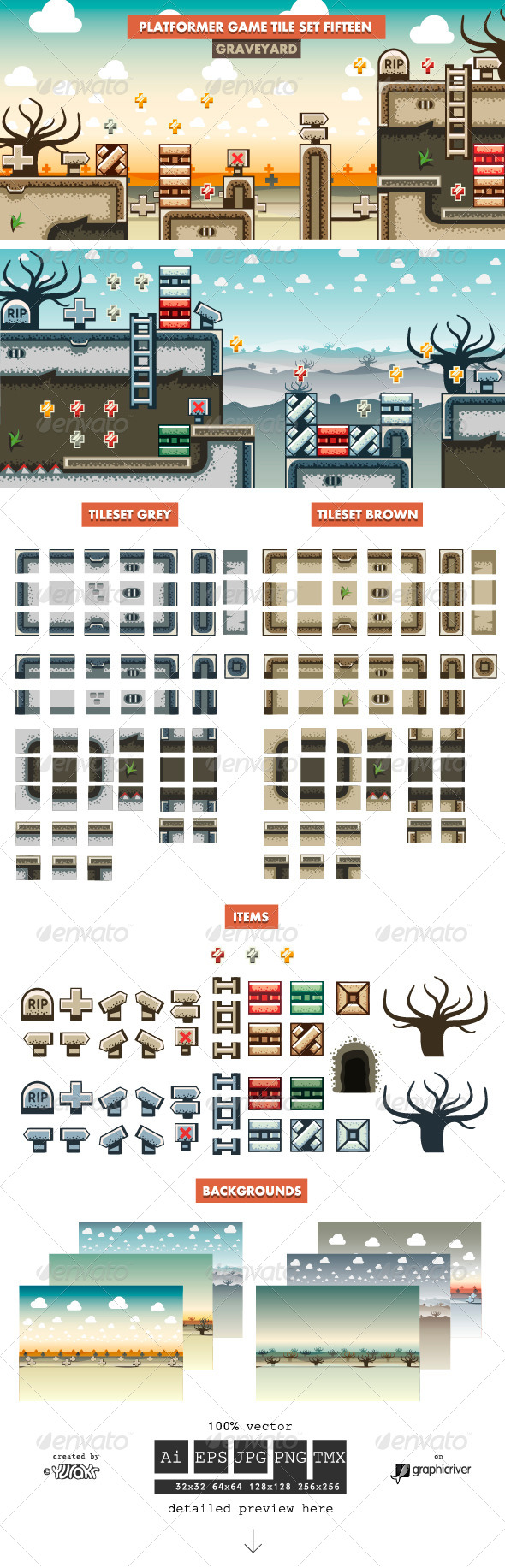 GraphicRiver Platformer Game Tile Set Fifteen 8782135