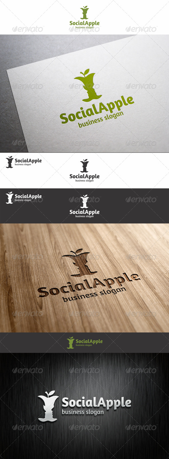 Social Apple Logo - Food Logo Templates