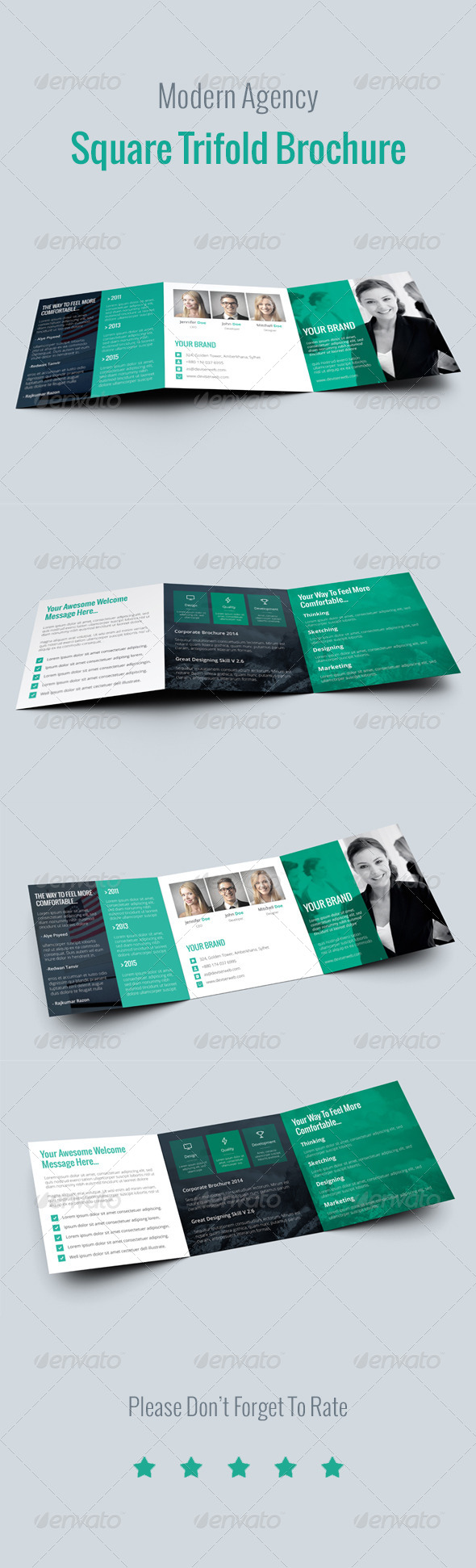 GraphicRiver Modern Agency Square Tri Fold Brochure 8782459