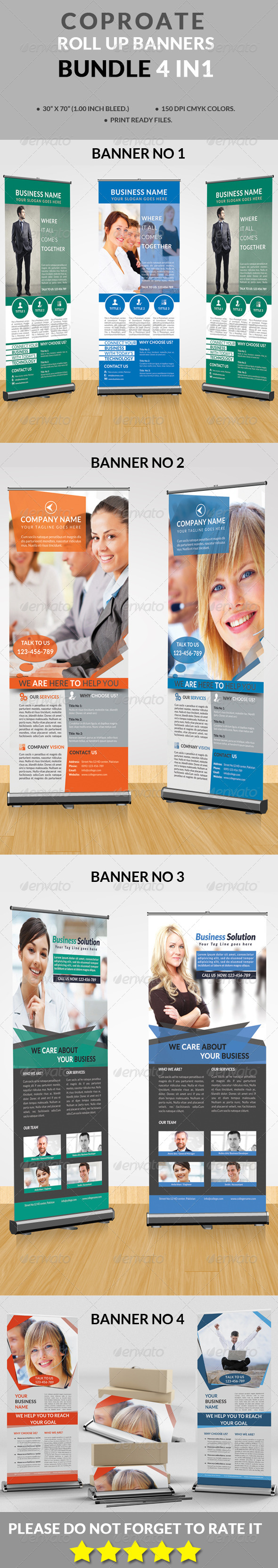 GraphicRiver Corporate Roll-up Banners Bundle 4 in 1 8782817