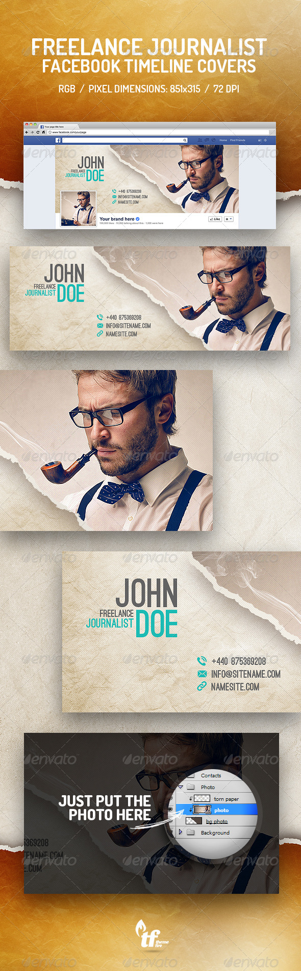GraphicRiver Freelance Journalist Timeline Covers 8782913