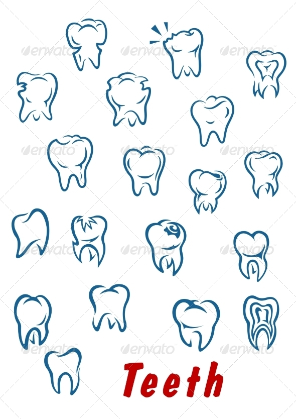 GraphicRiver Teeth Outline Icons Set 8787308