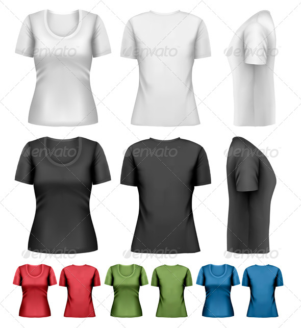 GraphicRiver Set of Colorful Female T-Shirts 8787342