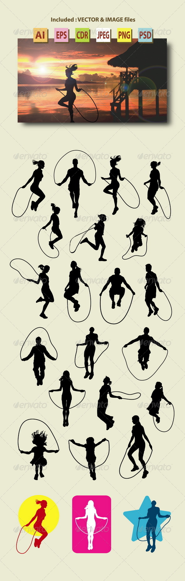 GraphicRiver People Skipping Rope Silhouettes 8787362