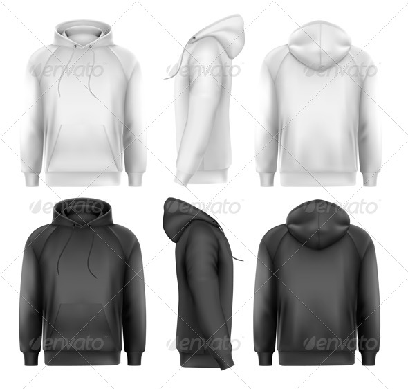 GraphicRiver Set of Black and White Male Hoodies 8787365
