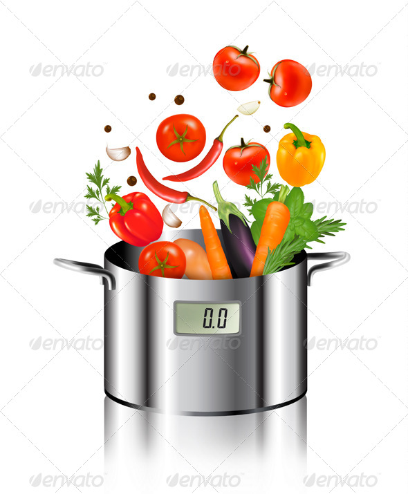 GraphicRiver Vegetables Falling into a Pot 8787377