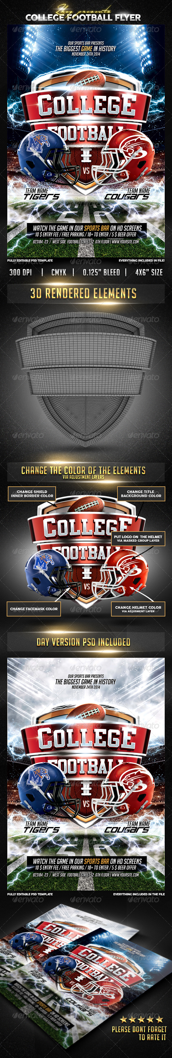 GraphicRiver College Football Flyer 8787379
