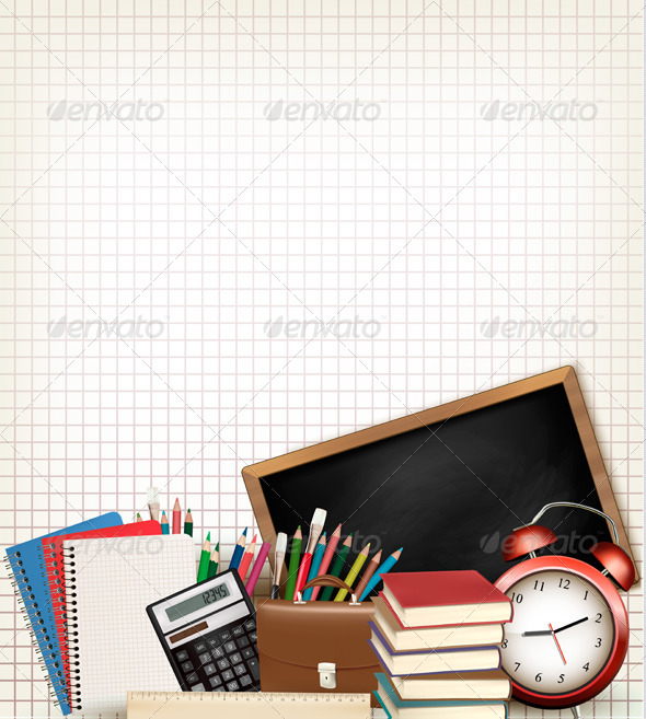 GraphicRiver Education Background with School Supplies 8787396