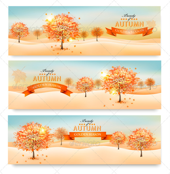 GraphicRiver Three Autumn Abstract Banners with Colorful Leaves 8787530