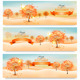 Three Autumn Abstract Banners with Colorful Leaves - GraphicRiver Item for Sale