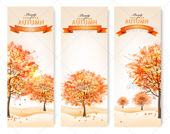 GraphicRiver Three Autumn Abstract Banners with Colorful Leaves 8787536